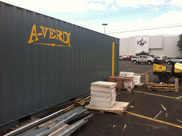 Commercial Construction Uses Portable Storage Container