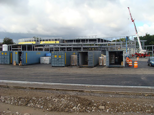 Storage Containers / Shipping Containers Used on Construction Jobsite