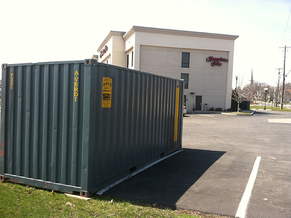 Shipping Container Outside Hampton Inn