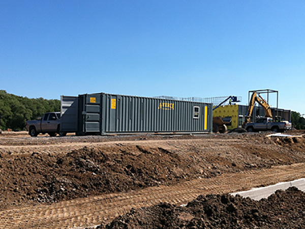 Ground level office container on construction site