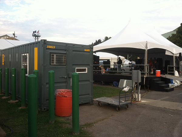 Office Container being used as a dressing room for a concert