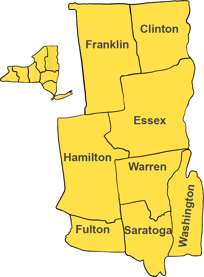 Eastern Adirondacks / Lake Champlain region, including Lake Placid, Saratoga, Warrensburg, and Potsdam