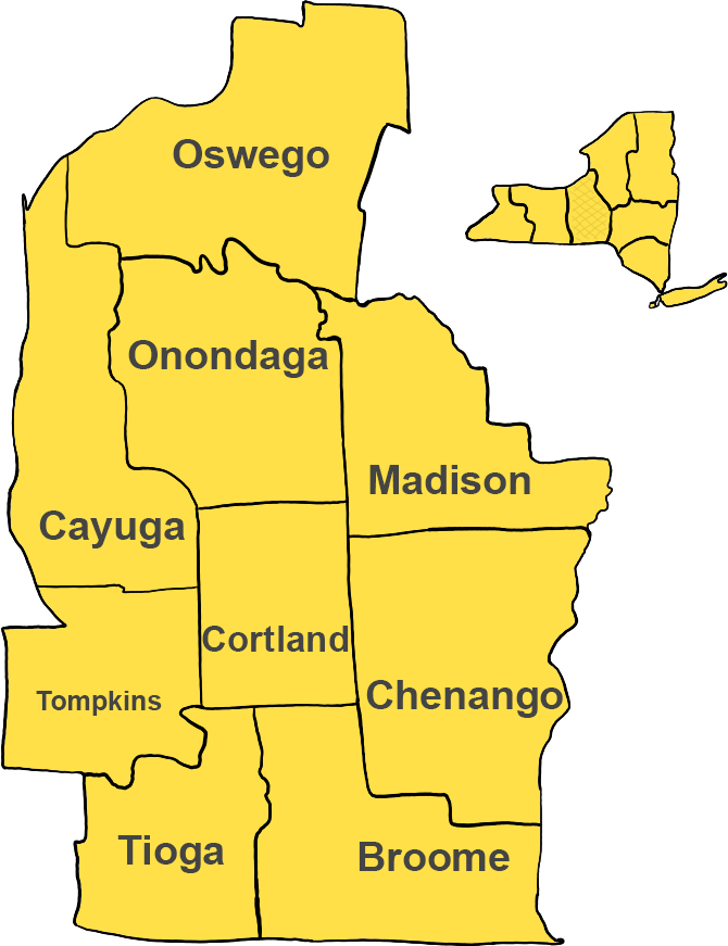 Central New York including Syracuse, Binghamton, Ithaca, Oswego, Cortland, Fulton and Auburn